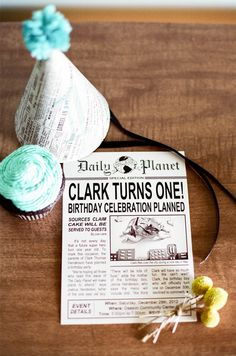 Invitations made to look like little newspapers for Clark's Daily Planet Themed Birthday Party