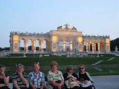 Schönbrunn Castle by night in Vienna, Austria