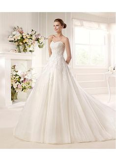 FABULOUS TULLE SATIN SWEETHEART NECKLINE NATURAL WAISTLINE A-LINE WEDDING DRESS SEXY LADY LACE FORMAL PROM BRIDESSMAID