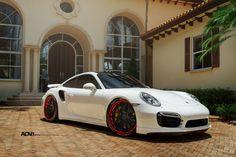 White Porsche Turbo S- ADV7 Track Spec CS% - ADV.1 Wheels