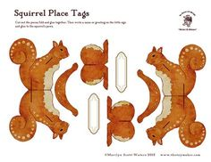 Squirrel Place Cards Papercraft - by The Toy Maker - Arranjo De Mesa Fall Crafts, Christmas Crafts, Crafts For Kids, Christmas Decorations, Squirrel Art, Paper Animals, Woodland Christmas, Up Book, Woodland Theme