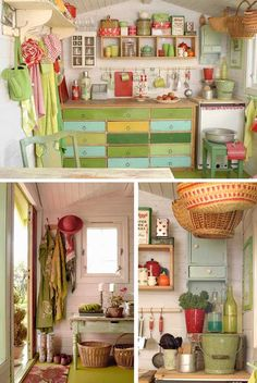 for the shed: white walls, green flooring, colorful items