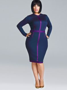 """LOVE Monif C's new """"Wear to Work"""" collection! *drool* """"Terry"""" Ponte Knit Colorblock Dress in Midnight/Purple"""