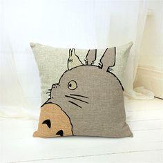 Hayao Miyazaki estilo 45 * 45 cm casa decorativo travesseiro Totoro almofada de algodão de linho lance impressa travesseiro Car Home Decor Cojines