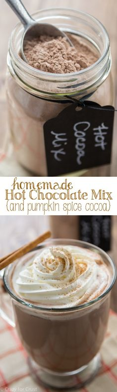 This recipe is for the best Homemade Hot Chocolate Mix. It's dairy-free and easy! Use it to make a pumpkin spice hot chocolate!