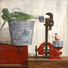Fixed the Leeks, Richard Hall, canvas giclee print, toy plumber, duct tape, pail