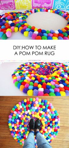DIY Teen Room Decor Ideas for Girls DIY Pom Pom Rug - Creative Ideas for Teens, Tweens and Teenagers Rooms - Cool Bedroom Decor, Wall Art & Signs, Crafts, Diy Pom Pom Rug, Pom Poms, How To Make A Pom Pom, Diy For Girls, Kids Diy, Diy Projects For Teens, Project Ideas, Art Ideas For Teens, Teen Art Projects
