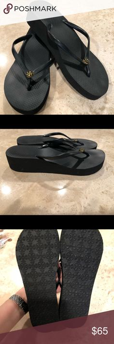 Tory Burch high heel flip flops Gently used Tory Burch high heel flip flops w skinny strap and gold emblem Tory Burch Shoes Sandals