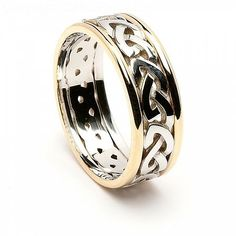 Seal your vows to your soul mate by presenting them with this glorious Brigid Celtic knot wedding band, with white gold Celtic knots and yellow gold trim. Celtic Knot Ring, Celtic Rings, Celtic Knots, Celtic Wedding Bands, Diamond Wedding Bands, Diamond Rings, Diamond Jewelry, Diamond Stud, Gold Jewelry