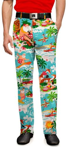 Loudmouth's Surfin Santa Pants - these. Golf Fashion, Fashion Pants, Mens Fashion, Mens Golf Outfit, Golf Sweaters, Golf Pants, Cool Style, My Style, Ugly Sweater