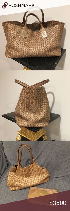 """Bottega Veneta Taupe Gold Leather Top Handle Bottega Veneta Taupe Gold Leather Top Handle Tote Bag Handle Length: 17"""" Handle Drop: 6.5"""" Height: 10"""" Length: 22.5"""" top; 15.5"""" bottom Width: 7"""" Interior Features: One zip pouch with leather interior. Bottega Veneta Bags"""