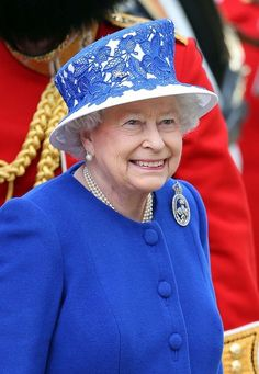 Queen Elizabeth's Official Birthday Celebration, The Trooping of the Colour parade. I love her smile and this hat!