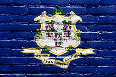 Stock Photo : Connecticut State Flag painted on brick wall
