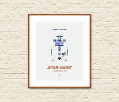 STAR WARS Minimalist Poster. Star Wars IV A New Hope. R2D2 Poster.  This Star Wars minimalist poster is the perfect choice for your modern home and makes a great gift for all the Star Wars fans.  Its chic minimal design will compliment any wall in your house, adding a distinctively modern sensibility.  Printed on fine archival matte paper (210g) with high-quality archival inks, it will last for years to come. This item is for prints only. Mat and frame not included.   SIZE SPECIFICATIONS:  6…
