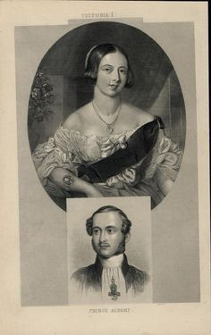 Queen Victoria I Prince Albert 1862 antique engraved portrait print
