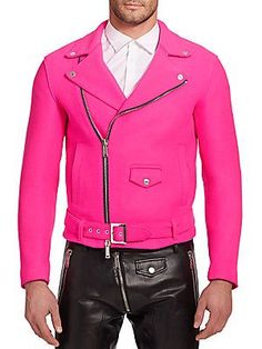 DSQUARED2 Wool Moto Jacket in hot pink