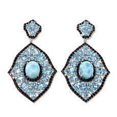 Rarities Larimar, Blue Topaz and Black Spinel Earrings