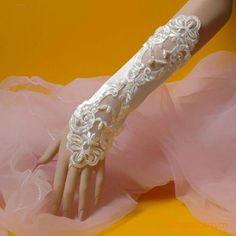 Paillette Bridal Dance Ballet Wedding Evening Gloves Ivory