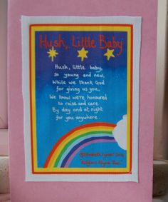 Lullaby card for baby and mother keepsake card gift.