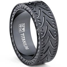 Oliveti Men's Black Titanium Black Cubic Zirconia Comfort Fit Ring (8 mm) | Overstock.com Shopping - Big Discounts on Men's Rings