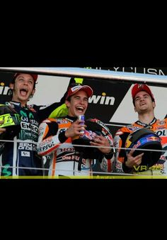 Valentino Rossi (2nd), Marc Marquez (1st) and Dani Pedrosa (3rd) on the podium at Jerez 2014