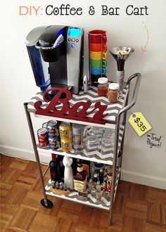 DIY Bar and Coffee cart. I like the idea of possibly being able to wheel it around. Or simply getting it off the counter. College House, College Dorm Rooms, College Life, Apartment Ideas College, Diy Room Decor For College, College Ready, Do It Yourself Quotes, Organize Life, Diy Bar Cart