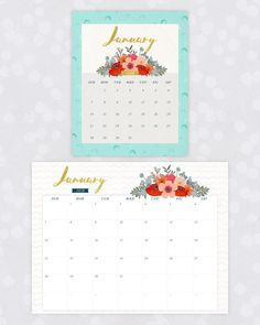 2018 January floral calendar