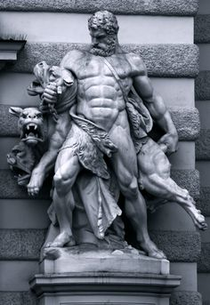 Hercules and Cerberus - Antonin Pavel Wagner. The Labor of Hercules was the capture of Cerberus, guardian of Hades. Ancient Greek Sculpture, Greek Statues, Ancient Art, Hercules Tattoo, Hades Tattoo, Gott Tattoos, 12 Labors Of Hercules, Greek God Tattoo, Greek Mythology Tattoos