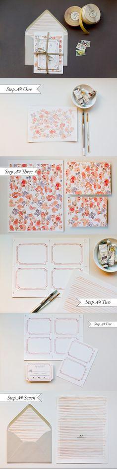 DIY Watercolour Invitations, Card & Envelope, Floral, Stationary Set, Tutorial