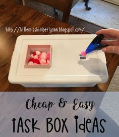 Making task boxes is like therapy to me. there& nothing like spending a few bucks at Target or the Dollar tree and making new tasks! Life Skills Classroom, Autism Classroom, Classroom Setup, Preschool Classroom, Kindergarten, Vocational Tasks, Cardboard Box, Preschool Special Education, Teacher Education