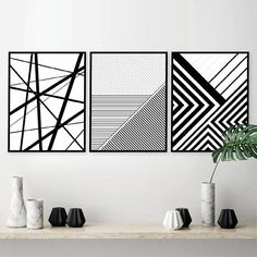 Printable Art Set of 3 Geometric Prints Set of 3 Prints Geometric Lines, Geometric Wall, Geometric Designs, Wall Art Sets, Wall Art Prints, White Art, Black White, Black And White Painting, Black Art