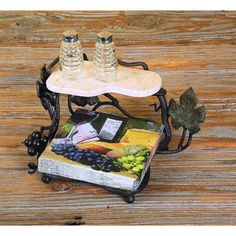 Wrought Iron Dinner Napkin Server and salt & pepper marble tray