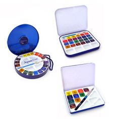 Daler-Rowney Aquafine Watercolour Travel Tin Sets are ideal watercolour travel companions as they all include a mini brush and are stored in compact tin cases.