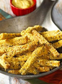Easy Vegetarian Tempeh Fries with Curry Mayonnaise (A High Protein Vegan Snack)