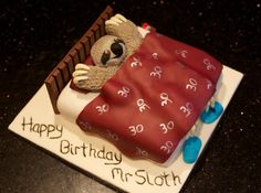 Happy Birthday Mr Sloth. Vanilla sponge with buttercream and all fondant detail.