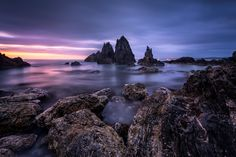 Soft and Steel - This is one of my favorite photo from my second trip to Bermagui which is located around 400km from Sydney.  I arrived this location at 5:00 after I finish shooting milky way earlier that morning. The increasing cloud and the rising sun start to bring some lovely color to the sky and water.  Since it's low tide, I managed to get really close and pick a foreground that works with background rock.   The foreground is only half meter away from my camera, I took two long…