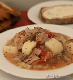 Kapusta. A traditional Polish cabbage soup made with pork, cabbage, sauerkraut, onion, carraway seed and my Babci's secret ingredient... stewed tomatoes to really enhance the flavors in this soup. Serve boiled potatoes on the side. ♥ A Family Feast