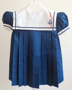 Vintage Navy Sailor Dress with Anchor on White by breedbabynyc, $27.50