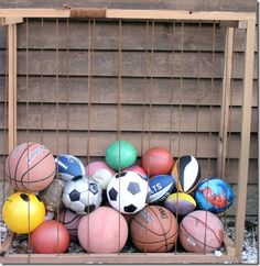 Idea for ball storage in playroom...of course painted and spruced up some.