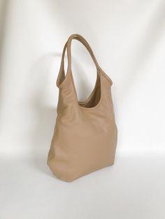 Camel Leather Slouchy Bag Purse with Outside Zip Pocket - Fashion Shoulder  Handbag - Handmade totes · Leather BagsLeather HandbagsLeather PursesReal  ... 7f56ef65281f5
