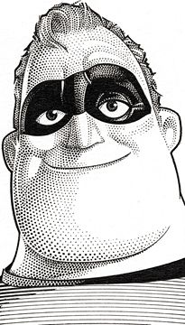 Wall Street Journal portrait (hedcut) of Mr. Incredible
