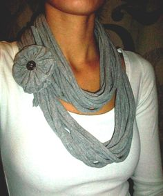 Recycled T-Shirt Infinity Scarf with Jersey Flower