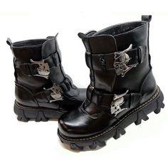 Buy Hot Black Skull Emo Gothic Punk Fashion Battle Boots Men Discount SKU-1280323