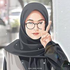 Vector Portrait, Digital Portrait, Portrait Art, Anime Muslim, Hijab Cartoon, Profile Picture For Girls, Hijabi Girl, Digital Art Girl, Cartoon Design