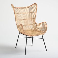 SHOP NOW: Natural Rattan Willis Wingback Chair. Featuring a handwoven rattan seat and back, our Willis chair offers a minimalist twist on a classic. Its wingback silhouette is paired with sleek black metal legs for a bold look and a comfy seat. Wicker Chairs, Eames Chairs, Metal Chairs, Outdoor Chairs, Outdoor Furniture, Adirondack Chairs, Rattan Furniture, Lounge Chairs, Furniture Nyc