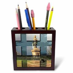 Statue of Robert Bruce in Scotland at Castle in Edinburg Made Into Beveled Tiles and Postured Behind-Tile Pen Holder, Pencil Holder, Pen Holders, Buy Pen, Buy Tile, Ph, Scotland, Tiles, Statue, Amazon