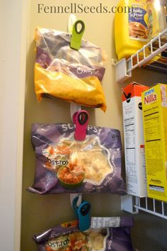 This is how I organize my pantry. See how I store my bags of chips so that they are easily accessible and off my pantry shelves. Love it!