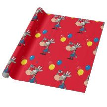 4th of July Independence Day Cartoon Donkey Custom Wrapping Paper