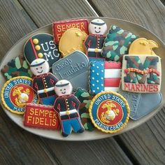 I need to make these for Orlando's Marines!! This screams Pinterest fail!! Haha! Cookies for marines