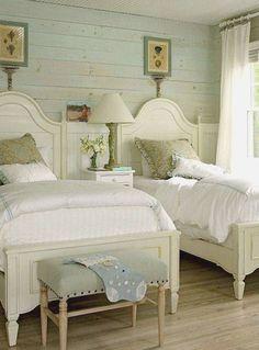 Like the blue washed ship lap Master Bedroom Interior, Guest Bedroom Decor, Guest Bedrooms, Guest Room, Bedroom Ideas, Single Bedroom, Large Bedroom, Pretty Bedroom, Dream Bedroom